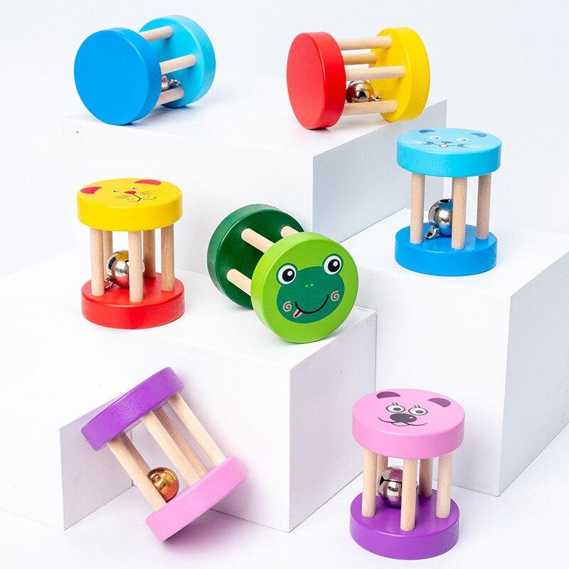 Детская деревянная погремушка с мультяшным рисунком, детская развивающая игрушка для раннего развития, музыкальный инструмент, детская му...