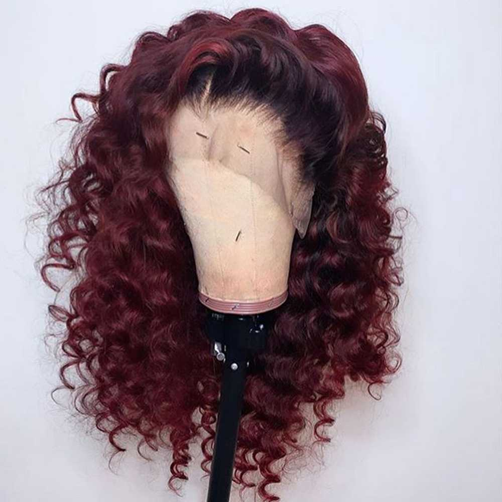 Ombre 99J color rojo borgoña 360 encaje Frontal pelucas de cabello humano 13x6 pelucas de encaje predesplumado Pelo Rizado brasileño Remy para mujer