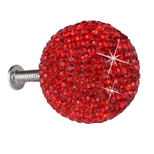 Стильный шкаф ручки с 5 винтов Стразы ручка шкафа мяч шкаф со стеклянными дверями круглая ручка для ящика, шкафа тягавые ручки оборудования - Цвет: Красный
