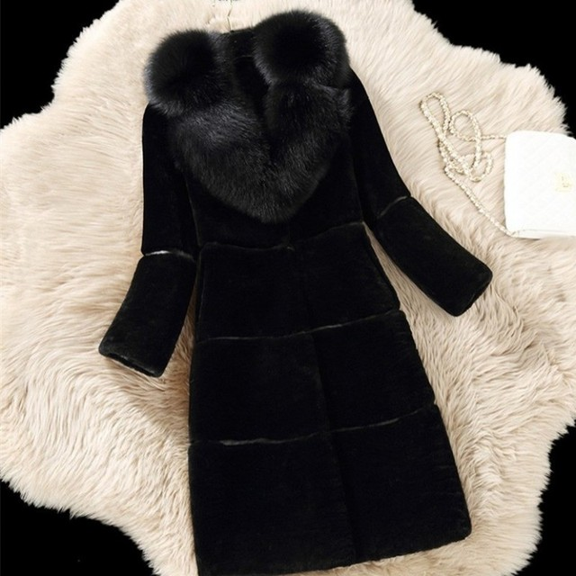 Autumn Winter New Women Faux Fur Coat Fashion Fox Fur Collar Rabbit Fur Slim Fit Overcoat Plus Size 5XL Thick Warm Elegant Coat