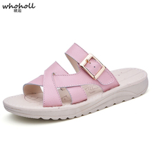 Summer Women Flat Slippers Genuine Leather Sandals Women Shoes Comfortable Ladies Beach Shoes Female Slides WSH2766 wedges slippers women 2018 slides sandals shoes women genuine leather closed toe handmade comfortable women flat shoes