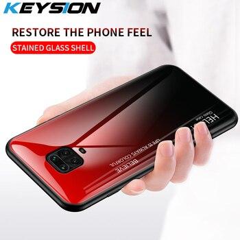 KEYSION Vetro Temperato di Caso di Pendenza Per Xiaomi Redmi Nota 9 Pro Max Protettiva caso Della Copertura Posteriore Per Xiaomi Redmi Nota 9S 9