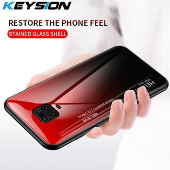 KEYSION Caixa em Vidro Temperado Gradiente para Xiaomi Redmi Note 9 Pro Max Capa Traseira de Proteção Capa para Xiaomi Redmi Note 9S 9