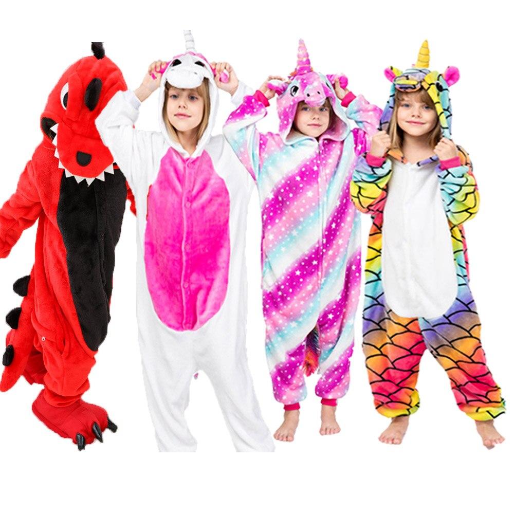 Пижама в виде животных, детский комбинезон в виде слона, детская зимняя Фланелевая пижама, комбинезон в виде единорога для маленьких девоче...