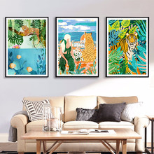 Italian View Jungle Tiger Art Posters and Prints Abstract Plants Fish Wall Art Painting on Canvas Pictures Home Decor No Frame
