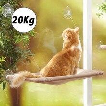 Camas suspensas para animais de estimação, suporte de animal de estimação de janela para banho de sol, rede para gatos até de 20 kg, confortável, cama para pet, leitos para prateleira