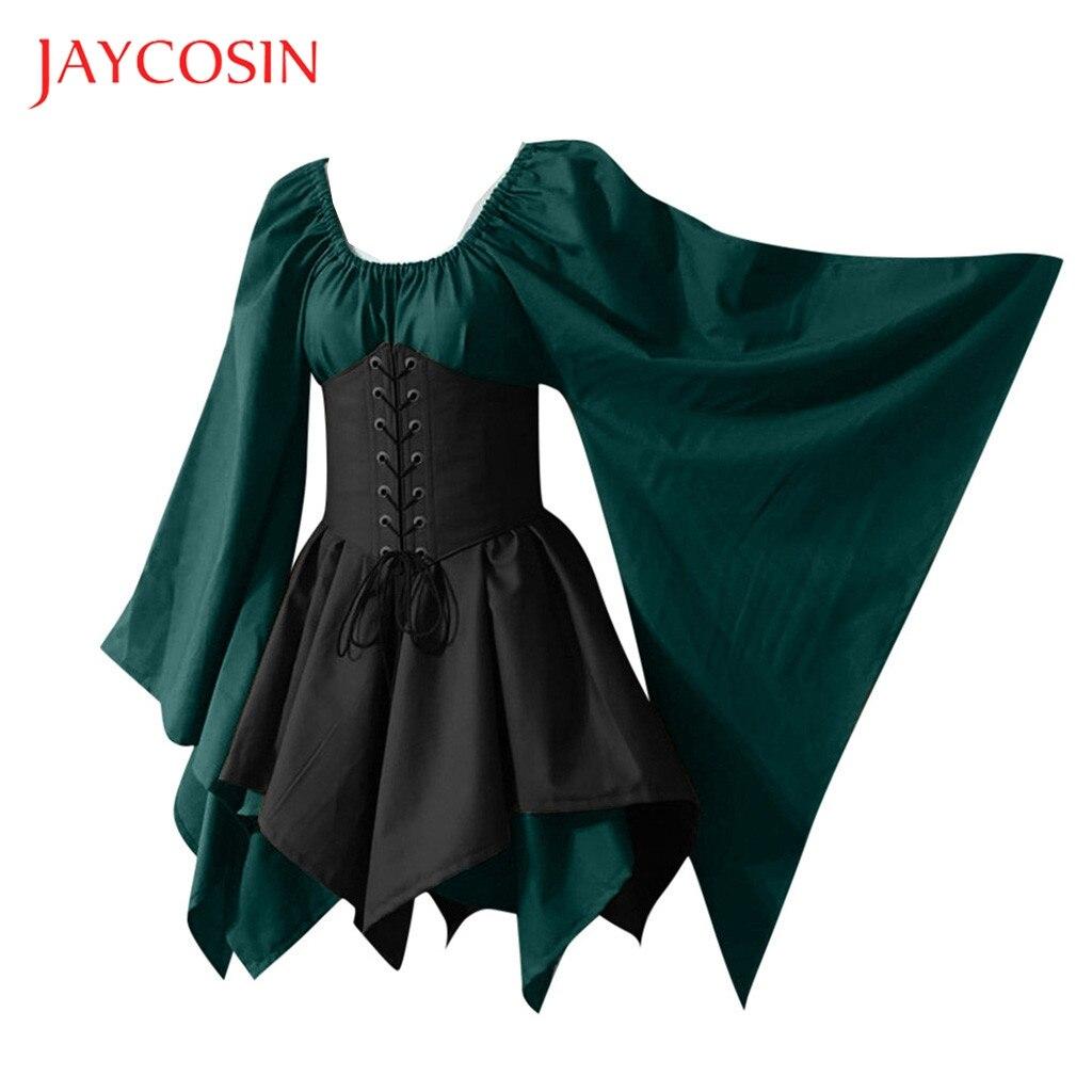 Jaycosin Vestidos Halloween Women Medieval Cosplay Costumes Gothic Retro Long Sleeve Corset Party Dress Women Retro Vintage 2019
