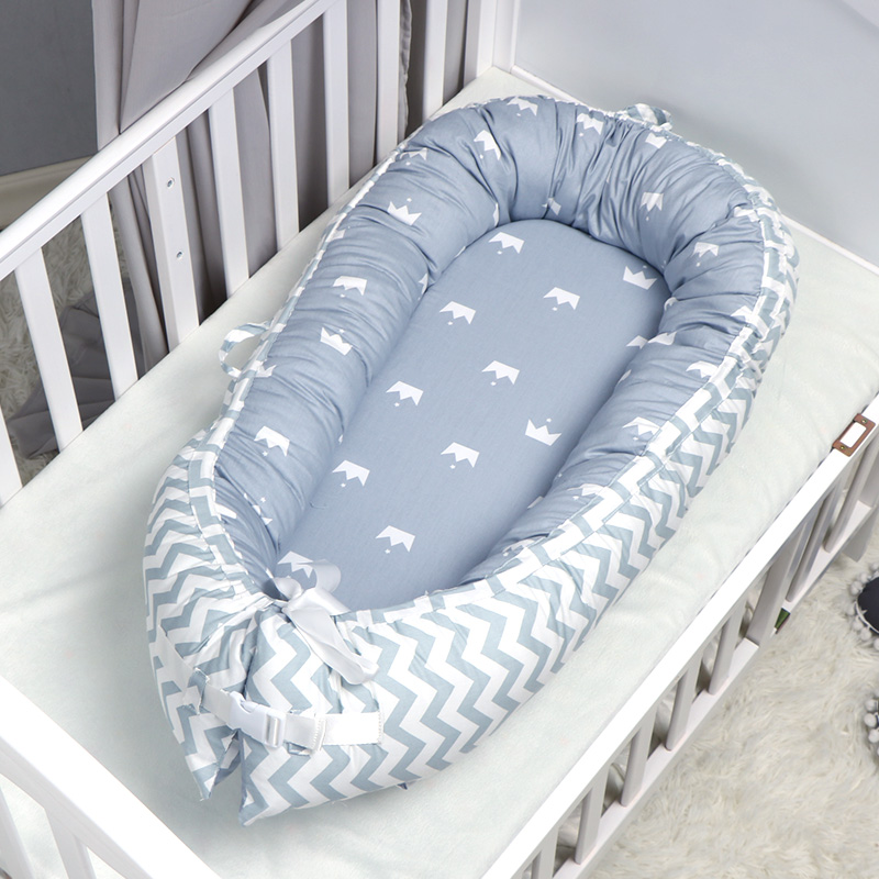 QWZ New 80*50cm Baby Nest Bed Portable Crib Travel Bed Infant Toddler Cotton Cradle For Newborn Baby Bed Bassinet Bumper