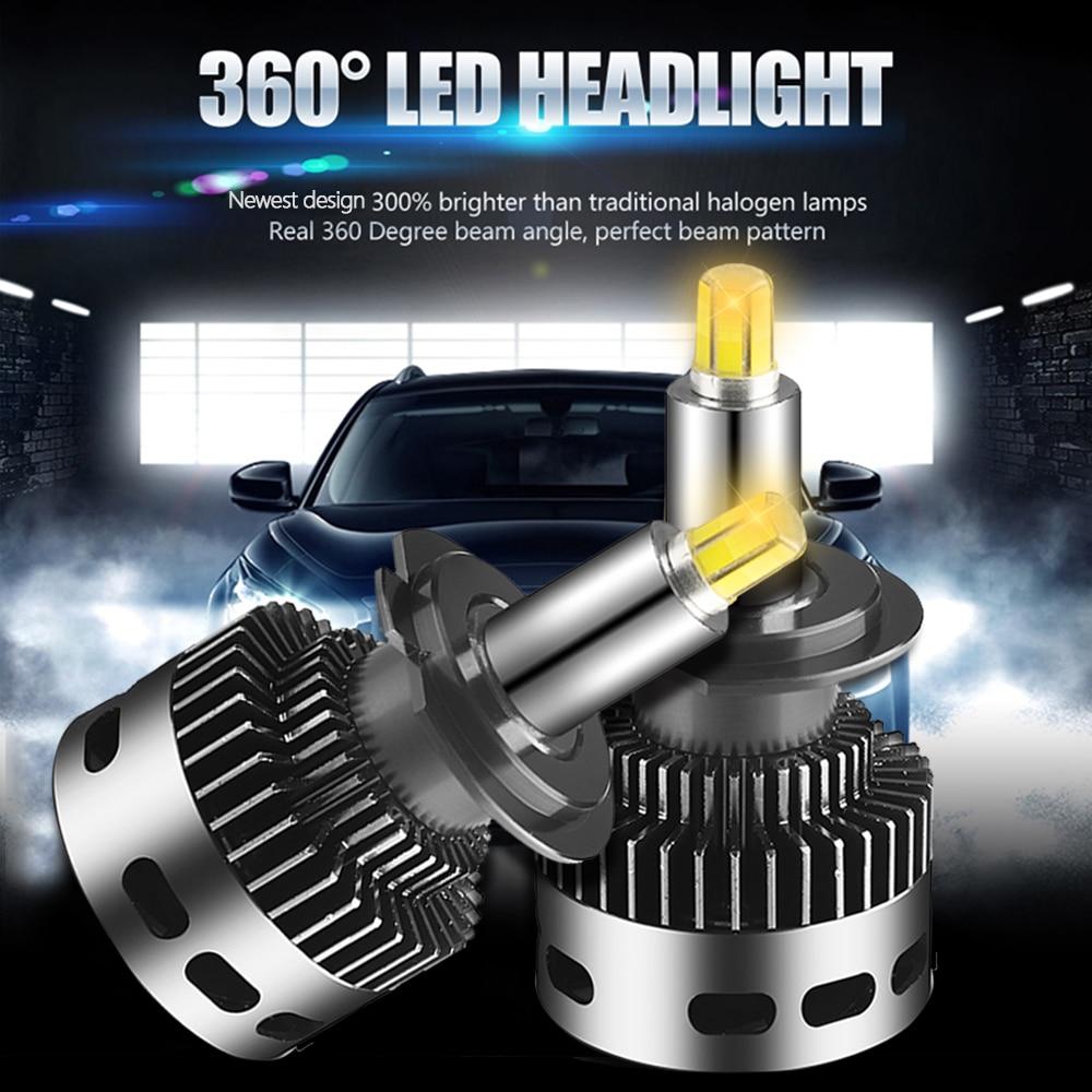 2 pièces 12 Côté 3D Voiture Phares 19000LM H11 H7 Canbus Aucune Erreur H8 H1 HB3 9005 9006 360 degrés CSP LED Ampoule Automobile Brouillard Lampe 12V