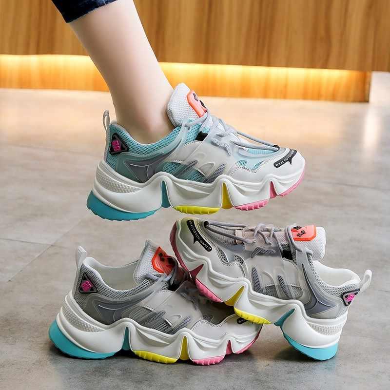 2020 sıcak yaz kadın Sneakers vulkanize nefes gökkuşağı renk moda günlükleri yüksekliği artan kadın tıknaz bayanlar ayakkabı