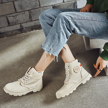 Liren 2019  Spring/Autumn Canvas Women Ankle Boots Fashion Casual Round Toe Warm Comfortable Flat Heels Shoes