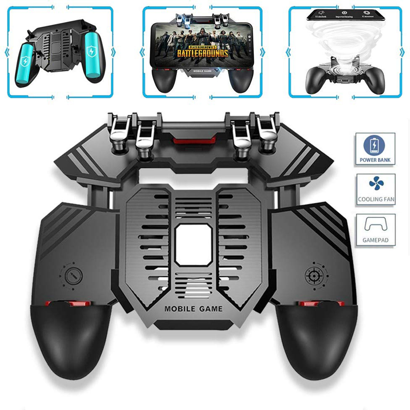 4 Triggers 6 Finger Operation Mobile Game Controller <font><b>Shooter</b></font> Trigger Cooling Fan Power Bank 1200/4000mAh for 4.7-6.5