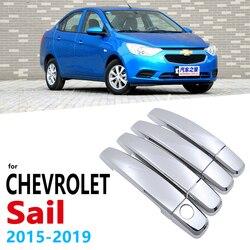 Chromowane uchwyty pokrywa tapicerka dla Chevrolet nowy żagiel Nuevo 2015 ~ 2019 naklejki do samochodów Auto Styling 2016 2017 2018