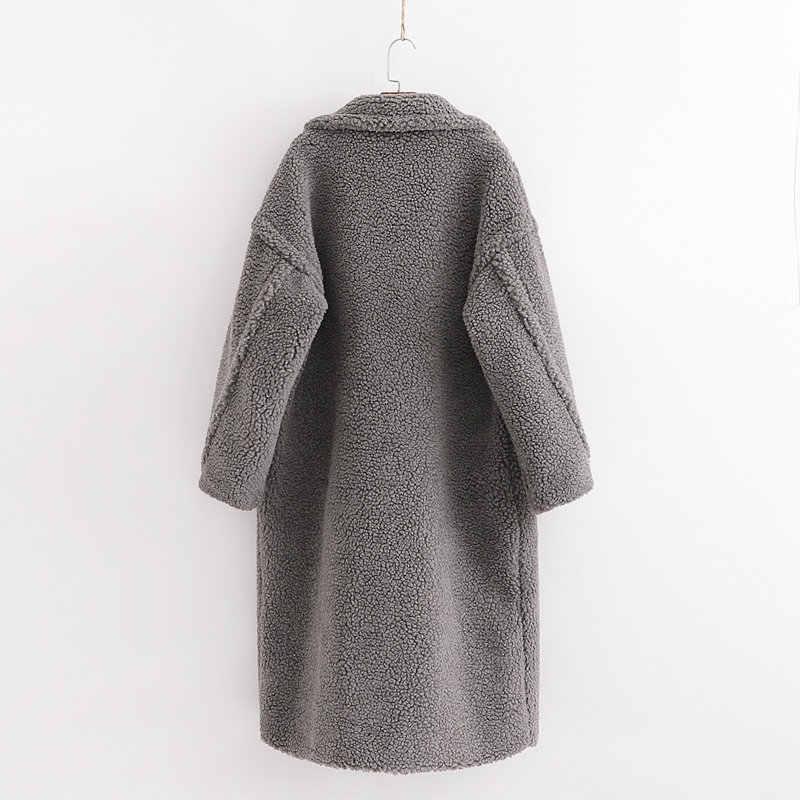 Женская теплая кашемировая куртка, Повседневная Уличная одежда серого цвета для осени и зимы