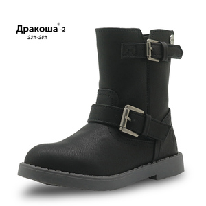 Image 1 - APAKOWA Girls Mid Calf Winter Boots Pu Leather Fashion Childrens Shoes New Solid Martin Boots for Girls Riding Boots EU 25 30