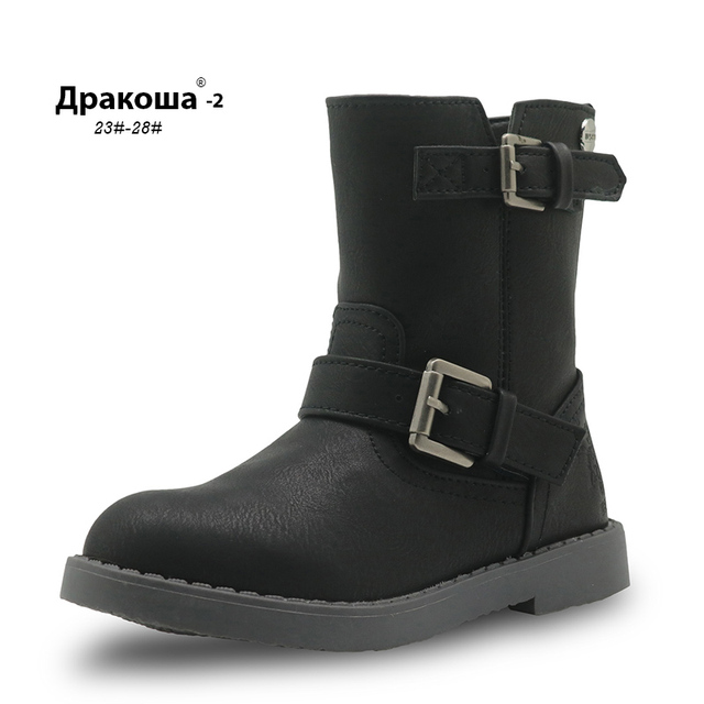 APAKOWA Girls Mid Calf Winter Boots Pu Leather Fashion Childrens Shoes New Solid Martin Boots for Girls Riding Boots EU 25 30