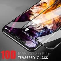 Protector de pantalla de vidrio templado con borde curvado 10D, para iPhone 12, 11 Pro Max, 12, Mini película para iPhone 10, 7, 8, 6, 6s Plus, 5S, X, XR, XS Max