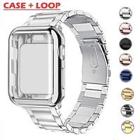 Funda de reloj + correa para iWatch, 38mm, 42mm, pulsera de Metal de acero inoxidable para Apple Watch 44mm 40mm SE Series 6 5 4