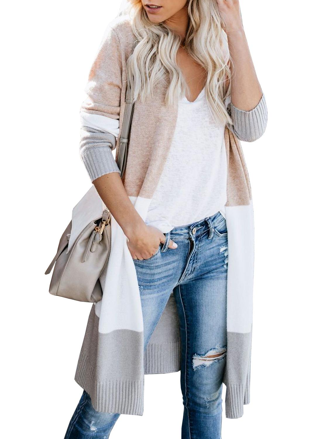 Unique Nature Womens Open Front Long Sweater Cardigans Boho Long Sleeve Color Block Knit Lightweight Kimono Duster Coats