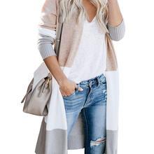Única naturaleza mujer abierto frontal largo suéter Cardigans Boho manga larga Color bloque Tejido ligero Kimono plumero abrigos