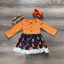 Bé gái quần áo bé gái mùa thu Váy Đầm bé trẻ em Halloween váy Đầm tay dài Orange Đầm bí ngô in kèm phụ kiện