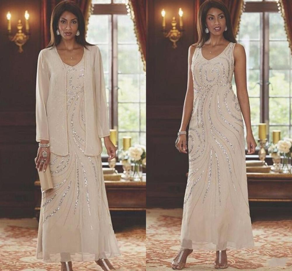 Elegant Mother Of The Bride Dresses With Jacket Beading Sequins Wedding Guest Gowns 2020 Ankle Length Plus Size Mother's Dress