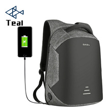 2017 Canvas men and women backpack USB Charging Port unisex for Laptops School with Anti-theft Pocket Business bag