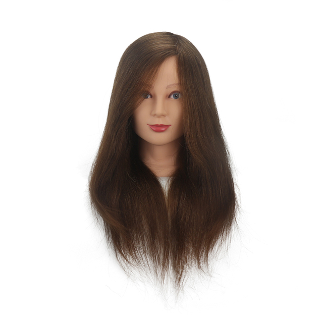 16/18 inch 100% real hair human brown black hairdresser training head dummy model with long hair styling practice head model| |   -