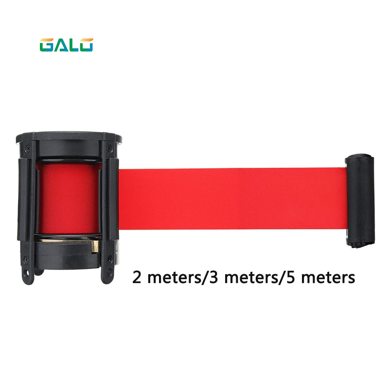 Retractable Ribbon Barrier Sport Outdoor Wall Mount Stanchion Queue Red Belt Stainless Steel Protective Tape 2m 3m 5m