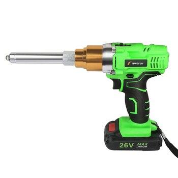 Riveter Gun 26v 3000mAh Cordless Electric Rivet Gun Electric Blind Support 2.4mm-5.0mm Rivet With LED Light 2 batteries gbtiger with 2 batteries