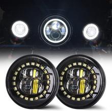 2 sztuk 4 5 Cal Led światła przeciwmgielne Dot zatwierdzony kompatybilny z motocykli harley 4 5 #8221 okrągłe Led lampy punktowe światła mijania tanie tanio CN (pochodzenie)