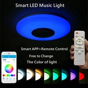 Image 3 - Altavoz inalámbrico LED con Bluetooth y Control remoto, lámpara de Panel de luz RGB de techo regulable para dormitorio