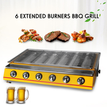 Big 6 Burners Barbecue Grill Commercial Household Gas BBQ Grill Glass Shield Natural Gas Barbecue Outdoor Picnic Garden BBQ Tool stainless steel bbq grill gas barbecue roaster gas infrared grill commercial household bbq gas oven smokeless gas oven ye102