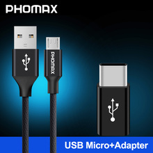 цена на PHOMAX  Micro USB Cable 1M Nylon Fast Charging Mobile Phone Cable For Samsung s9 s8 HTC Huawei Xiaomi USB Sync Data Charger Cord