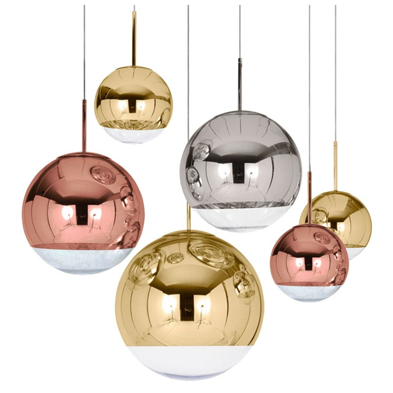 Modern Pendant Lights Silver Mirror Ball Hanglamp Globe Glass Led Lamp Kitchen Living Room Bedroom Home suspension luminaire