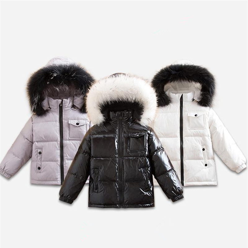 Kids Duck Down Jackets Child Thick Hooded Coat with Fur Collar Toddler Parkas