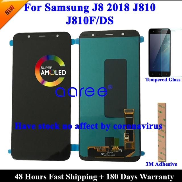 Tela amoled lcd para samsung j8 100%, super 2018, lcd, j810, para samsung j8 2018, j810, touch screen, digitizer montagem do conjunto