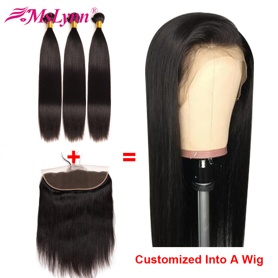 Straight Hair Bundles With Frontal Brazilian Hair Customized Into Lace Frontal Wig Human Hair Wig Lace Wig Mslynn Remy Hair