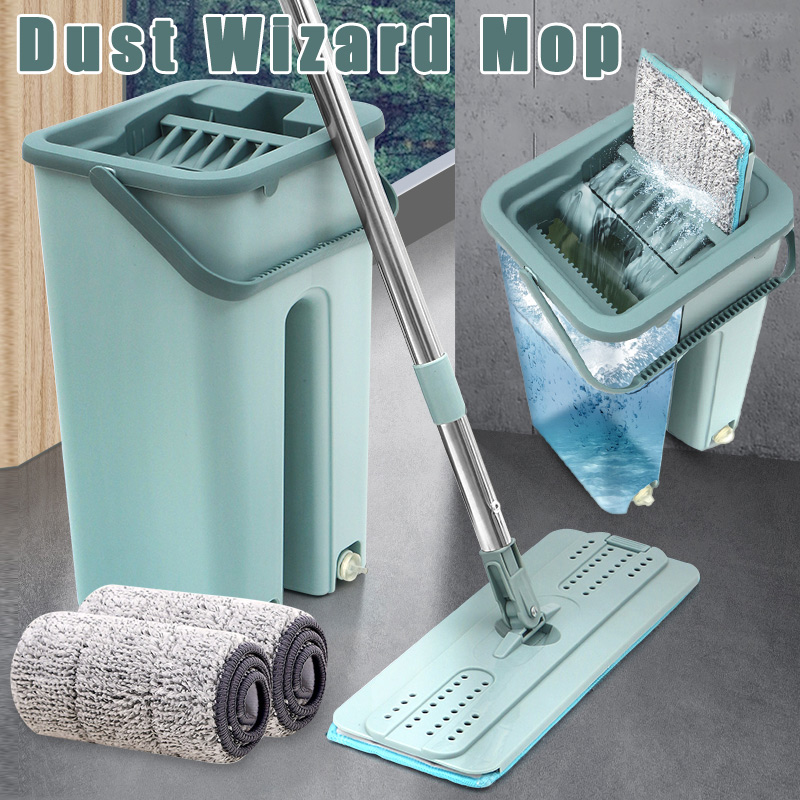 HOT Dust Wizard Mop Cleaning Tool Kit 360 Degree Rotating Tile Marble Floor for Home NDS66 Mops    - title=