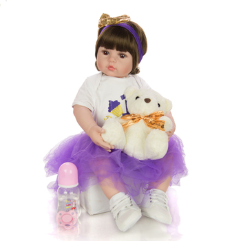 Curly hair 60CM bebe reborn toddler girl doll in purple dress stuffed body soft silicone realistic baby reborn toy gift playmate