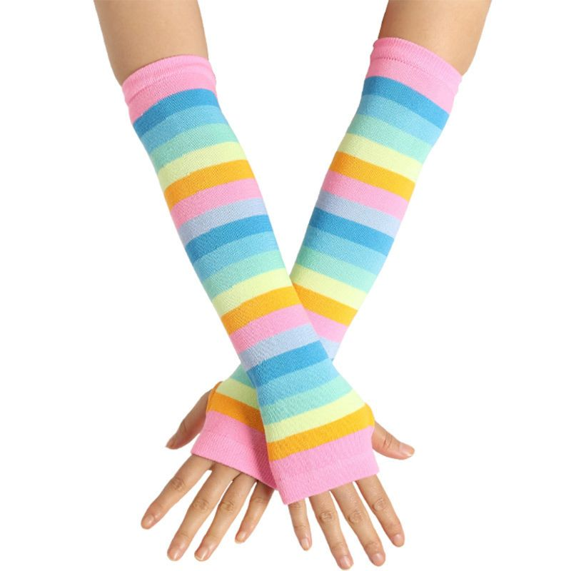 Women Girl Knitted Elbow Arm Sleeve Warmer For Sun Protection Stripes Patchwork Fingerless Gloves With Thumb Hole Party Costume