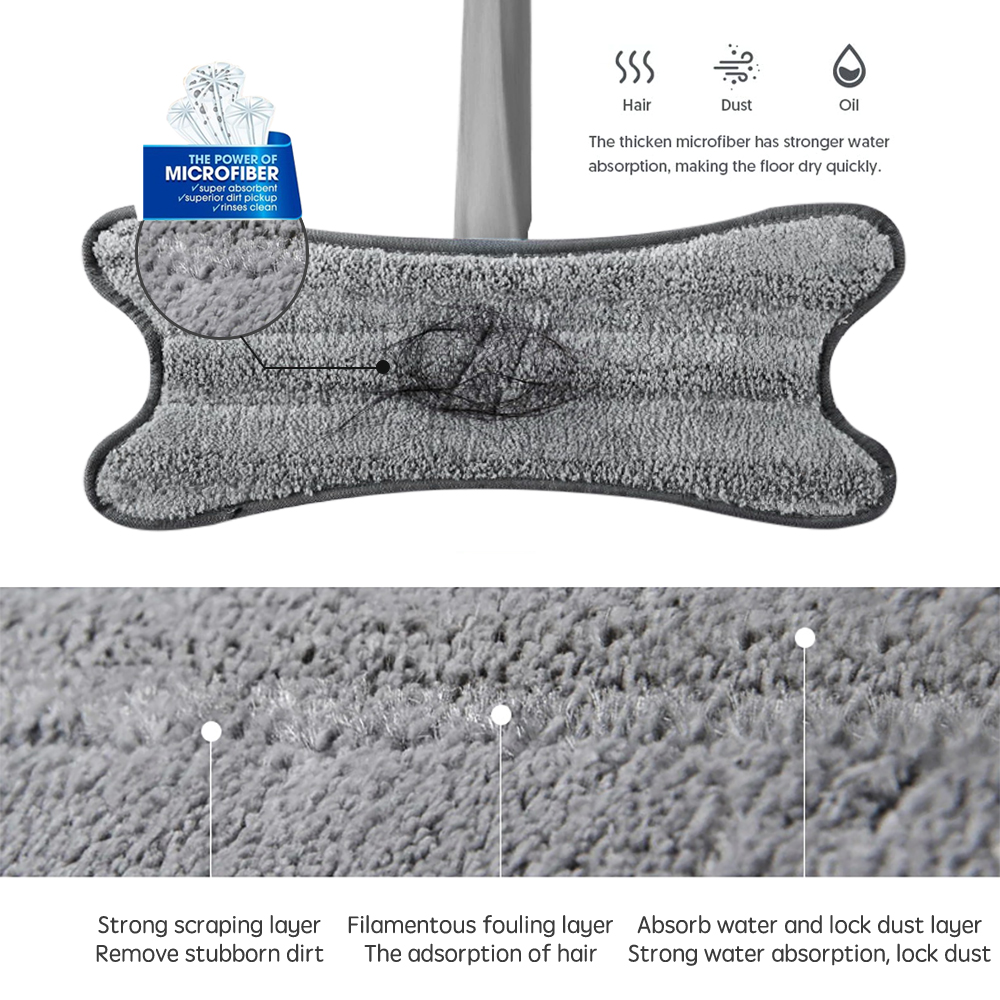 X type Hand free Floor Mop with Reusable Microfiber Pad 360 Degree Flat Dust Wet Mop for Home Floor Wash Household Cleaning Tool