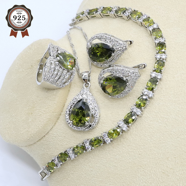 New Olive Green Zircon  Silver Color Jewelry Set for Women with Bracelet Earrings Necklace Pendant Ring Birthday Gift 1