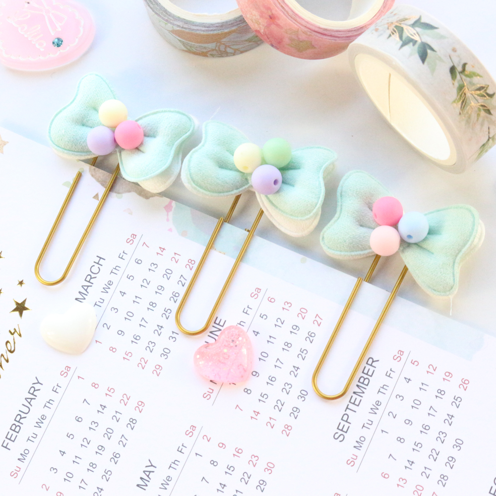 Domikee New Cute Koran Kawaii School Student Bow Design Metal Paper Clips Bookmark Set Candy Girls Memo Clips Stationery 3pcs