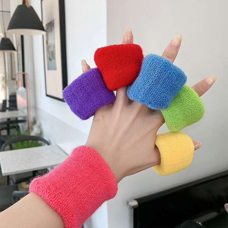 New Solid Color Plush Elastic Hair Bands For Women Girls Simple Wide Hair Rope Ties Ponytail Holder Fashion Hair Accessories