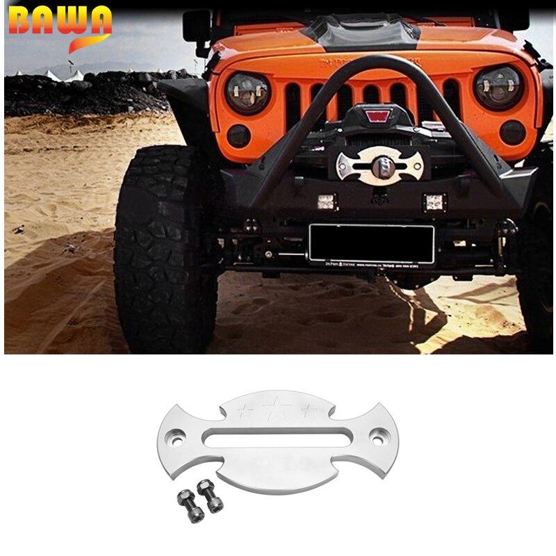 Guide de corde de treuil BAWA en aluminium Hawse Fairlead pour Jeep Wrangler JK JL 2007 + cordes de remorquage accessoires automobiles
