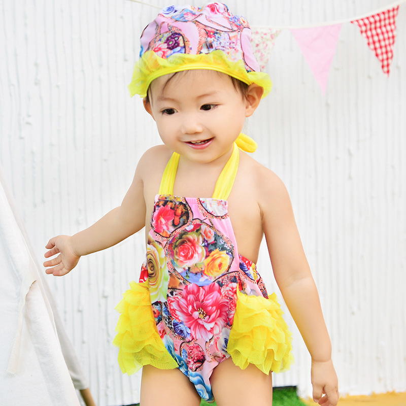 KID'S Swimwear Girls Small CHILDREN'S Baby Bathing Suit Cute Sweet Seaside Bubble Hot Spring Quick-Dry BABY'S Swimsuit Send Swim