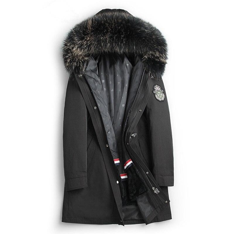 Real Fur Coat Men Rabbit Fur Liner Raccoon Fur Collar Hooded Real Fur Parka Plus Size Winter Jacket Men Casaco G-18P0818 YY819