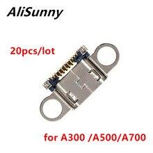 Alisunny 20 pçs usb porto conector da doca para samsung a3 a5 a7 a300 a500 a700 carregamento micro tomada peças de reposição