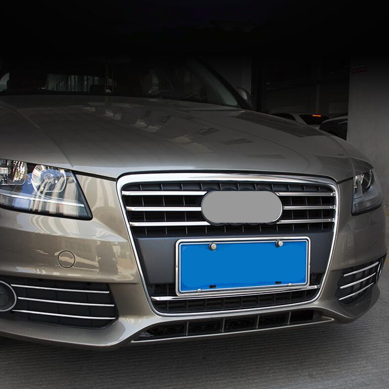 cheapest Stainless Steel Front Grill Grille Decorative Cover Trim Strips For Audi A4 2009-2012 Car Front Fog Lamp Strips